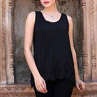 Embroidered silk tank top, 'Ebony Radiance' - Ebony Silk Tank Top with Eyelet Embroidery from India