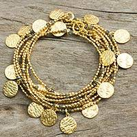 Gold plated labradorite wrap bracelet, 'Solar Magic' - Labradorite Beads in Hand Crafted Gold Plated Wrap Bracelet