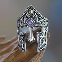 Men's sterling silver and amethyst ring, 'Elite Knight' - Amethyst and Sterling Silver Men's Ring with 18k Gold Plate