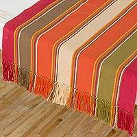 Cotton table runner, 'Wings of Paradise' - Cotton Fringed Table Runner Multicolored from Guatemala