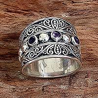 Amethyst band ring, 'Lucky Trio' - Hand Made Sterling Silver Amethyst Band Ring Indonesia