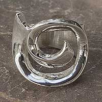 Sterling silver ring, 'Soul's Inception' - Collectible Taxco Silver Band Ring