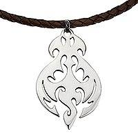 Sterling silver and leather pendant necklace, 'Shining Flame' - Sterling Silver Silhouette Brown Leather Pendant Necklace
