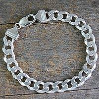 Men's sterling silver link bracelet, 'Hip Hop Links' - Men's Modern Sterling Silver Link Bracelet from India