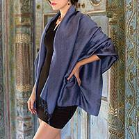 Rayon and silk blend shawl, 'Elegance in Indigo' - Dark Blue Women's Woven Rayon and Silk Blend Shawl