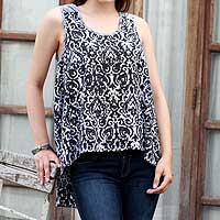 Sleeveless cotton top, 'Newly Ancient' - Black and White 100% Cotton High Low Sleeveless Top