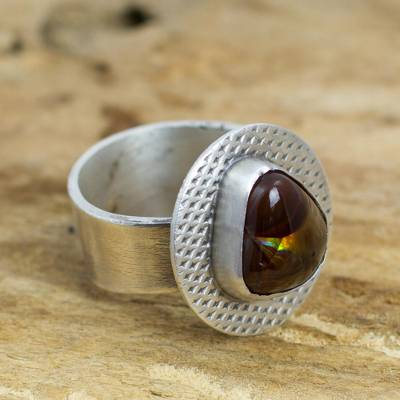 Fire agate cocktail ring, 'Soul of Fire' - Sterling Silver Ring with Mexican Fire Agate
