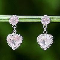 Rhodium plated rose quartz dangle earrings, 'Rosy Hearts' - Rhodium Plated Rose Quartz Heart Earrings from Thailand