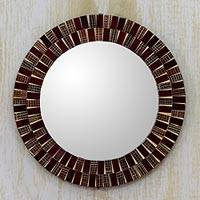 Glass mosaic mirror, 'Golden Flames' - Russet and Gold Round Wall Mirror Crafted from Glass