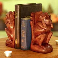 Wood bookends, 'Speak No Evil Monkey' (pair) - Hand Carved Wood Monkey Bookends (Pair)