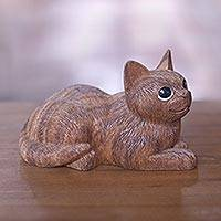 Wood sculpture, 'Long Haired Cat' - Charming Hand Carved Wood Sculpture of Long Haired Cat