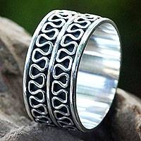 Men's sterling silver ring, 'Ripple Tides' - Men's Jewelry Sterling Silver Band Ring Artisan Crafted