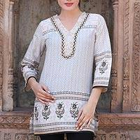 Beaded cotton tunic, 'Golden Magic' - Cotton Block Print Tunic with Beadwork and Sequins