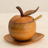 Wood sugar bowl and saucer, 'Atitlan Orange' (4 pieces) - Hand Carved Mahogany Orange Shaped Sugar Bowl and Saucer