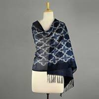 Silk shawl, 'Starry Night' - White on Black and Blue Indian Silk Shawl Wrap