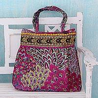 Embellished shoulder bag, 'Festive Mood' - Colorful Cotton Handbag with Embroidery and Sequins