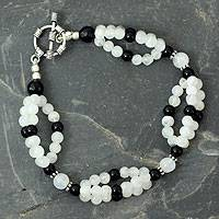Rainbow moonstone and onyx beaded bracelet, 'Gulmohar Lady' - Rainbow Moonstone and Onyx beaded bracelet