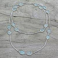 Chalcedony long station necklace,