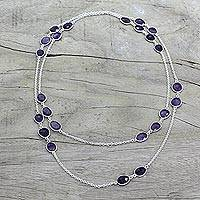 Amethyst long station necklace, 'Violet Princess' - Amethyst Sterling Silver Long Necklace Handmade in India