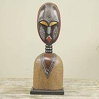 Wood sculpture, 'Togbe' - African Tribal Chief Wood Sculpture with Aluminum Accents
