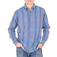 Men's cotton shirt, 'Magic of Panajachel' - Men's Handwoven Blue Striped Long Sleeved Cotton Shirt