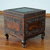Mohena wood and leather accent table, 'Tradition' - Handcrafted Colonial Leather Wood Accent Trunk and Storage