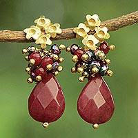 Gold plated jade and pyrite flower earrings, 'Flowering Vermilion' - Red Jade Earrings with Pyrite and Gold Plated Flowers