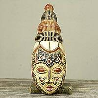 African wood mask, 'Royal Splendor' - Artisan Crafted African Wood Wall Mask from Ghana