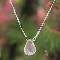 Rose quartz pendant necklace, 'A Spell of Romance' - Hand Made Rose Quartz Pendant Necklace