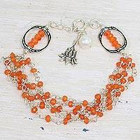 Carnelian and cultured pearl beaded bracelet, 'Lotus Beauty' - Carnelian and Cultured Pearl Beaded Bracelet from India