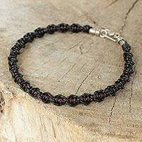 Men's leather braided bracelet, 'Black Magnificence' (Thailand)