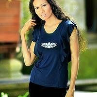 Jersey top, 'Navy Lotus Butterfly' - Artisan Crafted Jersey Top
