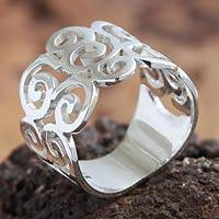 Silver band ring, 'Pacific Peru' - Modern Fine Silver Band Ring