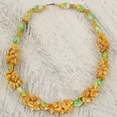 Agate beaded necklace, 'Warm Beloved Life' - Agate Recycled Plastic Beaded Necklace from West Africa