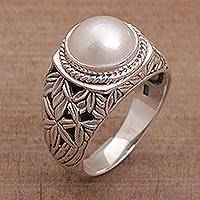 Cultured pearl domed ring, 'Bamboo Dreams' - Cultured Pearl and Sterling Silver Single Stone RIng