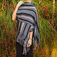 Cotton shawl, 'Atitlan Nights' - Cotton shawl
