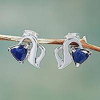 Sodalite stud earrings, 'Blossoming Vine' - Graceful Handcrafted Sterling Silver Earrings with Sodalite