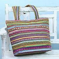 Cotton shoulder bag, 'Shimmering Stripes' - Handmade Colorful Cotton Patchwork Shoulder Bag from India