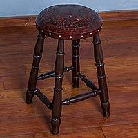 Wood and leather stool, 'Birds in the Vineyard' - Hand Crafted Wood and Leather Stool with Bird Motif