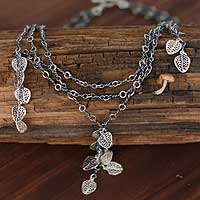 Sterling silver floral necklace,