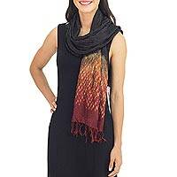Tie-dyed scarf, 'Black Red Kaleidoscopic' - Fiery Tie-dye Silk Rayon Scarf Crafted by Hand in Thailand