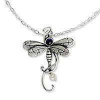 Amethyst pendant necklace, 'Majestic Dragonfly' - Mexican Hand Crafted Sterling Silver Necklace with Amethyst