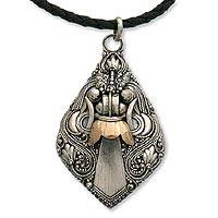 Silver pendant necklace, 'Bhoma Deity' - Hand Crafted Indonesian Silver and 18k Gold Necklace