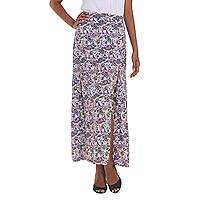 Rayon maxi skirt, 'Pretty in Paisley' - Long Rayon Skirt with Paisley Pattern from Indonesia
