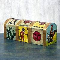 Decoupage box, 'Mexican Lottery Game' - Hand Made Loteria Decorative Wood Box