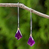 Gold accent chalcedony dangle earrings, 'Magenta Orchid' - Gold Accent Purple Chalcedony Dangle Earrings from Thailand