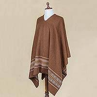 Men's alpaca blend poncho, 'Peaceful Earth' - Artisan Crafted Men's Brown Alpaca Blend Poncho from Peru
