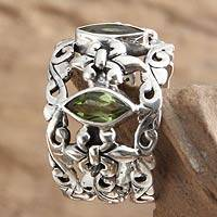 Peridot multi-stone ring, 'Splendor in Green' - Sterling Silver and Peridot Ring from Indonesia