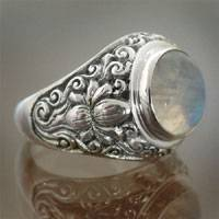 Rainbow moonstone solitaire ring, 'Sacred Lotus' - Rainbow Moonstone and Sterling Silver Ring from Bali
