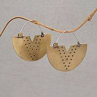 Brass hoop earrings, 'Tribal Points' - Brass and Sterling Silver Hoop Earrings from Bali